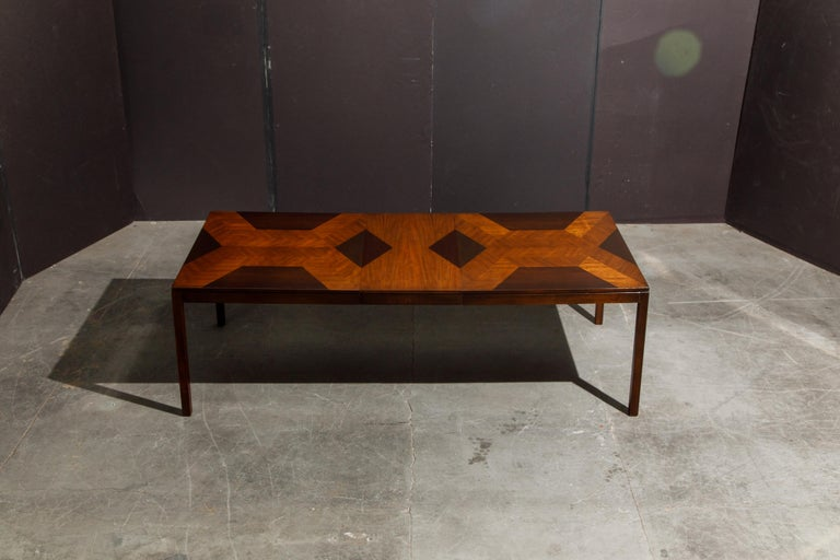 Exotic Mixed Woods Dining Table by Milo Baughman for Directional, circa 1970 For Sale 12
