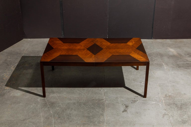 Exotic Mixed Woods Dining Table by Milo Baughman for Directional, circa 1970 For Sale 13