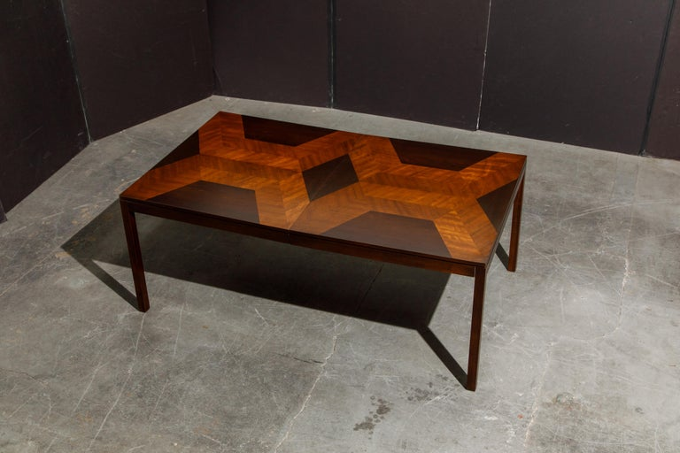 Exotic Mixed Woods Dining Table by Milo Baughman for Directional, circa 1970 For Sale 14