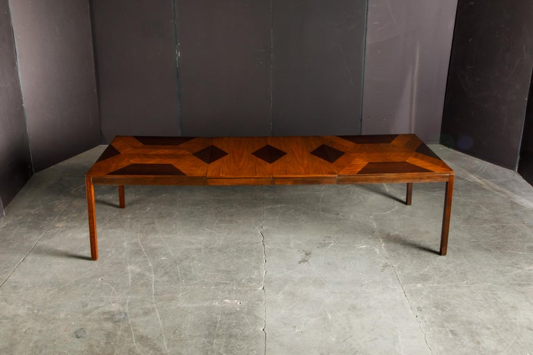 Mid-Century Modern Exotic Mixed Woods Dining Table by Milo Baughman for Directional, circa 1970 For Sale
