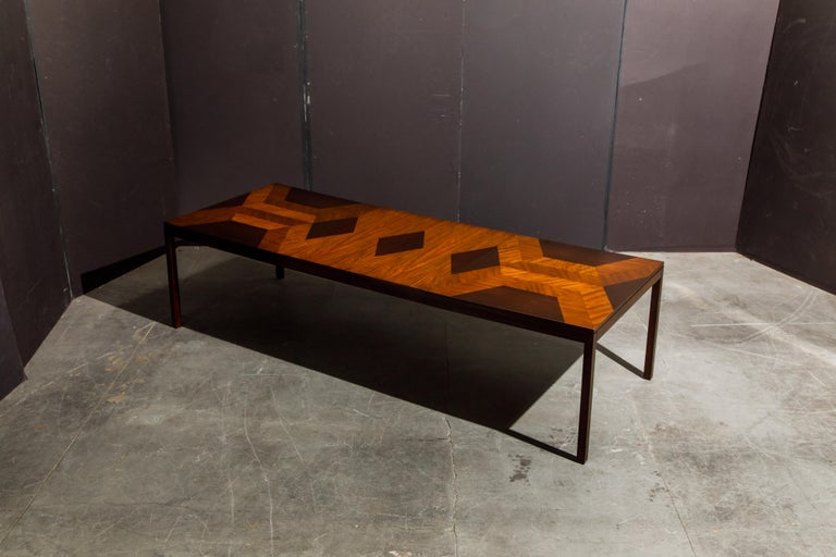 American Exotic Mixed Woods Dining Table by Milo Baughman for Directional, circa 1970 For Sale