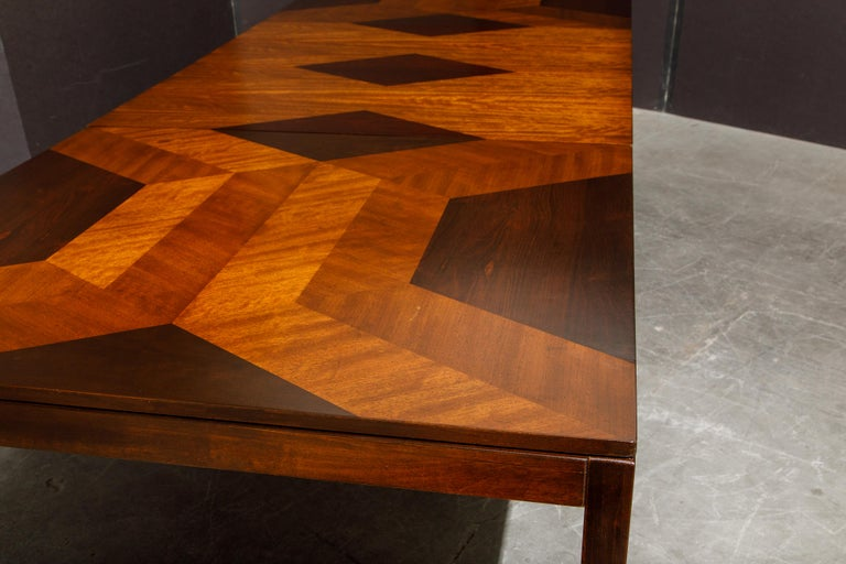 20th Century Exotic Mixed Woods Dining Table by Milo Baughman for Directional, circa 1970 For Sale