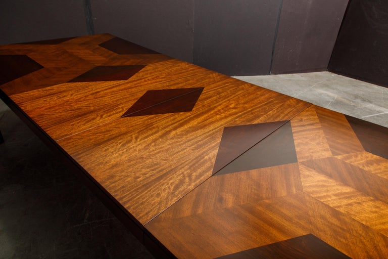 Exotic Mixed Woods Dining Table by Milo Baughman for Directional, circa 1970 For Sale 1