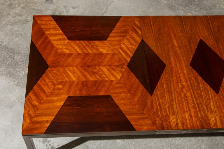 Exotic Mixed Woods Dining Table by Milo Baughman for Directional, circa 1970 For Sale 2