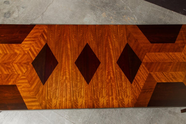 Exotic Mixed Woods Dining Table by Milo Baughman for Directional, circa 1970 For Sale 3
