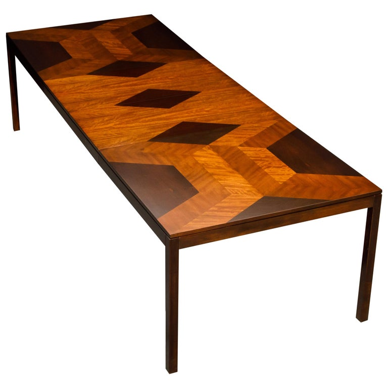Exotic Mixed Woods Dining Table by Milo Baughman for Directional, circa 1970 For Sale