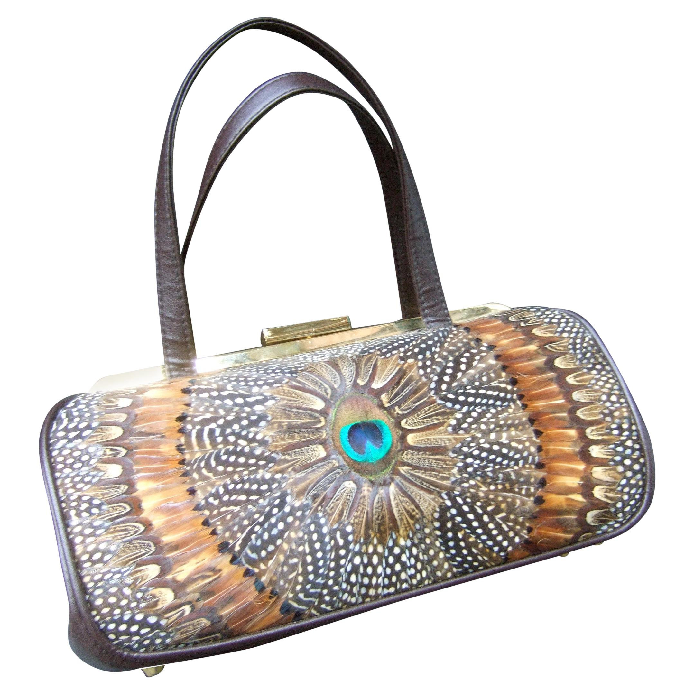 Exotic Peacock Plumage Bird Feather Structured Handbag circa 1970s
