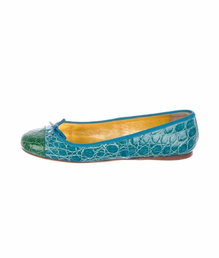 Blue Exotic Prada Crocodile Ballet Flats Ballerina Slippers Shoes For Sale