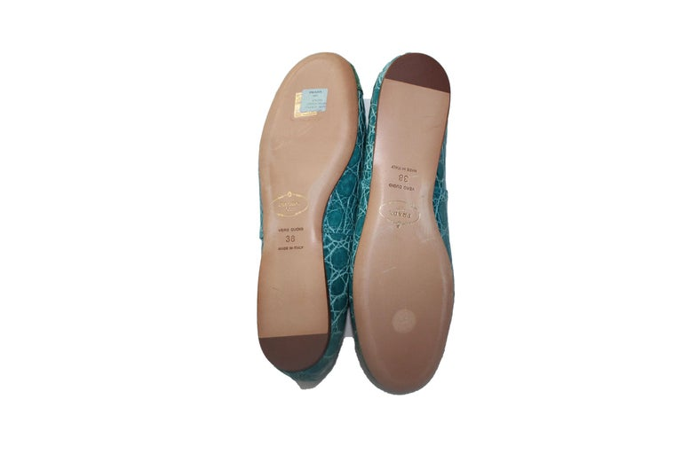 Exotic Prada Crocodile Ballet Flats Ballerina Slippers Shoes In New Condition For Sale In Switzerland, CH