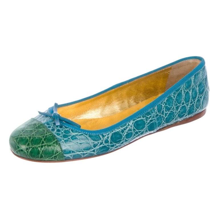 Exotic Prada Crocodile Ballet Flats Ballerina Slippers For Sale