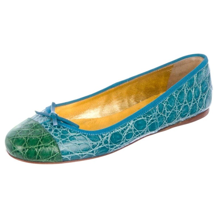 Exotic Prada Crocodile Ballet Flats Ballerina Slippers Shoes For Sale