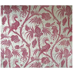 Exotic Red Bird Indienne Stylized Flowers Cotton Curtain, French, 19th Century
