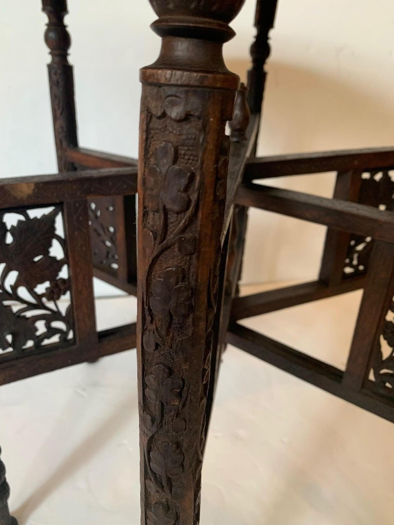 Exotic Round Moroccan Tray End Table For Sale 6