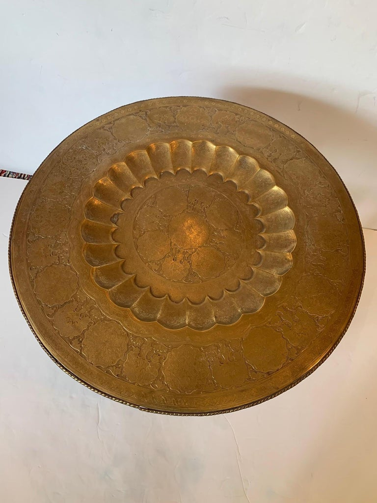Late 20th Century Exotic Round Moroccan Tray End Table For Sale