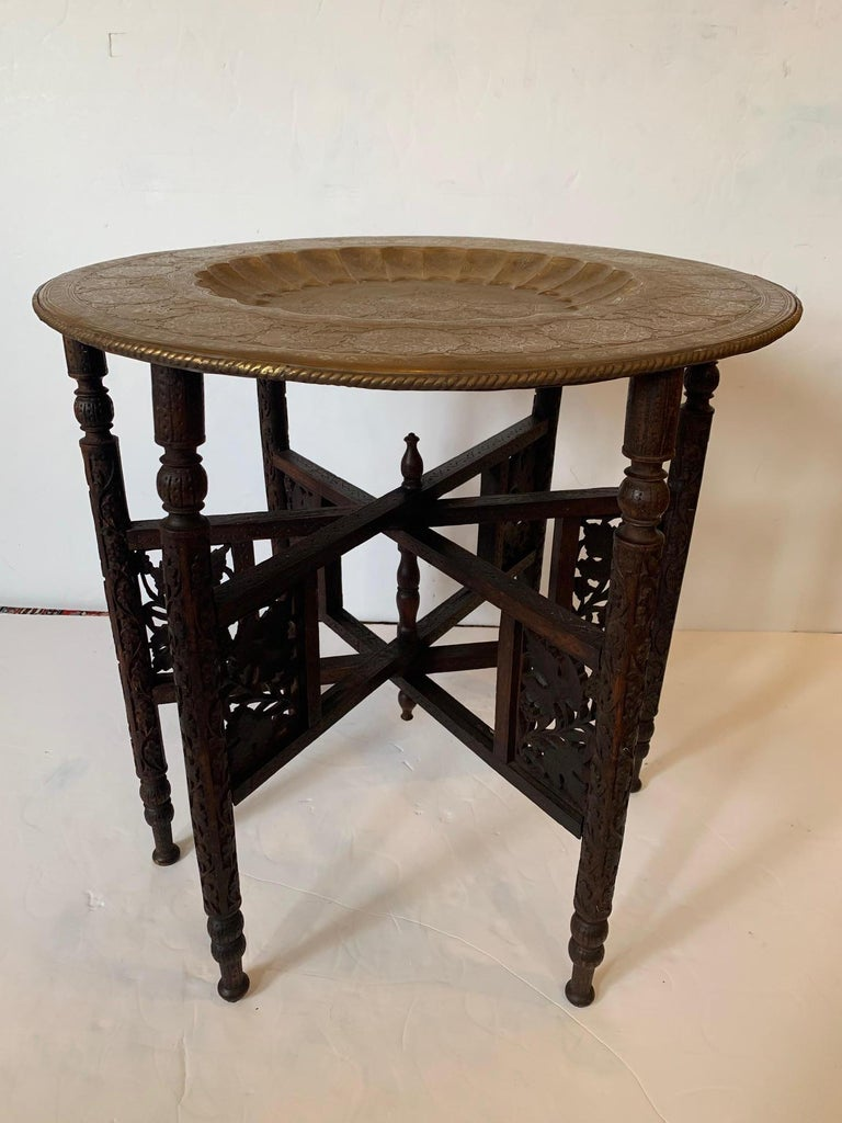 Exotic Round Moroccan Tray End Table For Sale 1