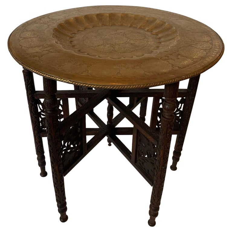 Exotic Round Moroccan Tray End Table For Sale