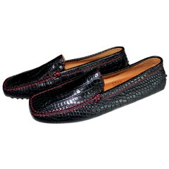 Exotic Tod's for Ferrari Black Gommino Moccasins Loafers Alligator Crocodile