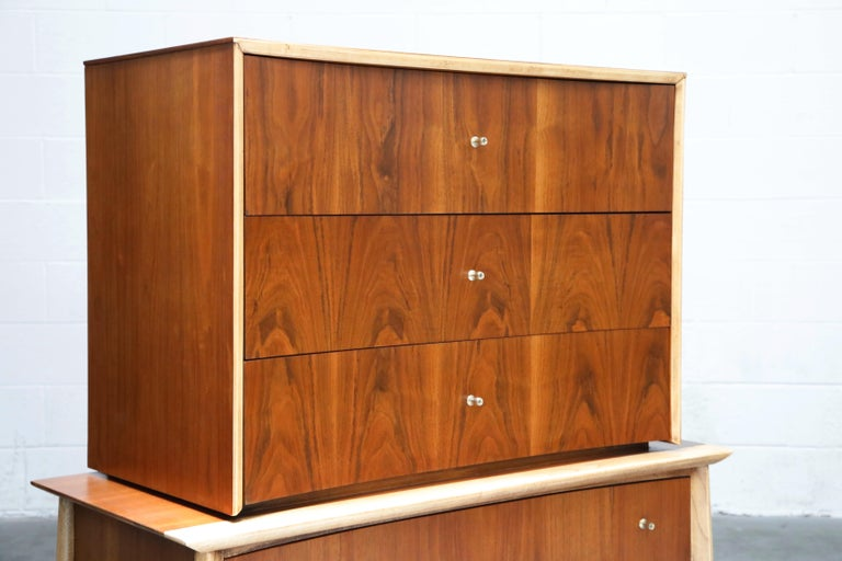 Mid-20th Century Exotic Two-Toned Scandinavian Modern Sculptural Highboy Dresser, circa 1960 For Sale