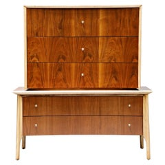 Exotic Two-Toned Scandinavian Modern Sculptural Highboy Dresser, circa 1960