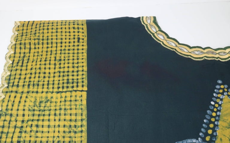 Blue and Yellow Vintage Batik Caftan Lounger For Sale 5