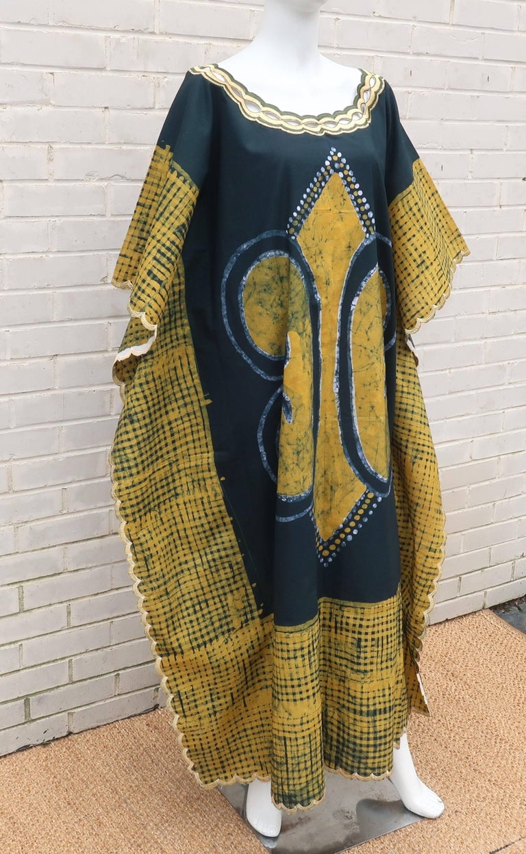 Brown Blue and Yellow Vintage Batik Caftan Lounger For Sale
