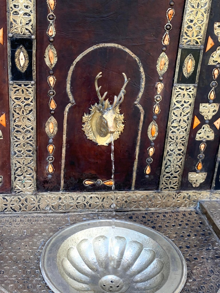 Exotic Vintage Moroccan Brass, Bone, and Silvered Fountain For Sale 5