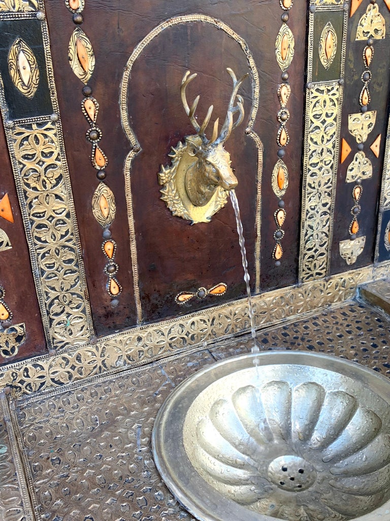 Exotic Vintage Moroccan Brass, Bone, and Silvered Fountain For Sale 6
