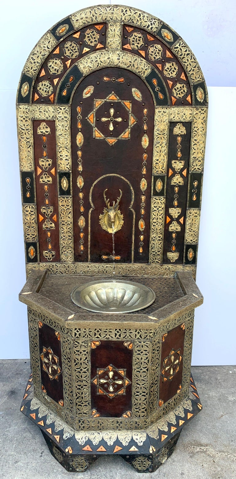Exotic Vintage Moroccan Brass, Bone, and Silvered Fountain For Sale 7