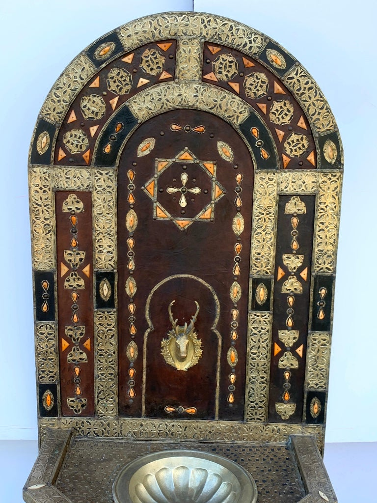 Exotic Vintage Moroccan Brass, Bone, and Silvered Fountain For Sale 8