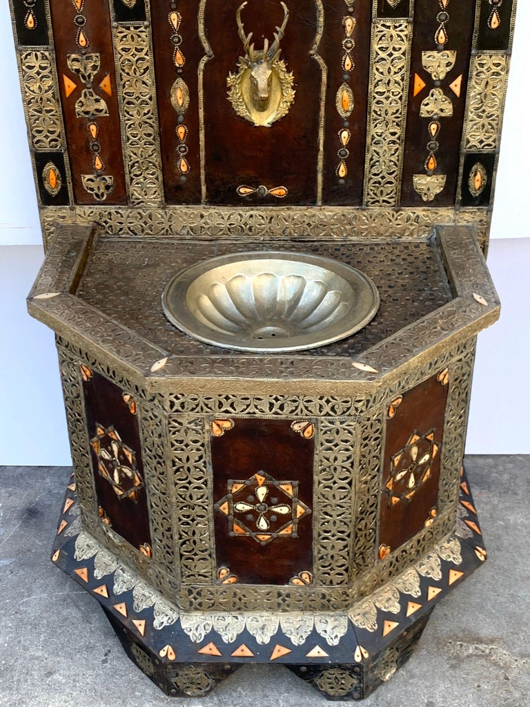 Exotic Vintage Moroccan Brass, Bone, and Silvered Fountain For Sale 9