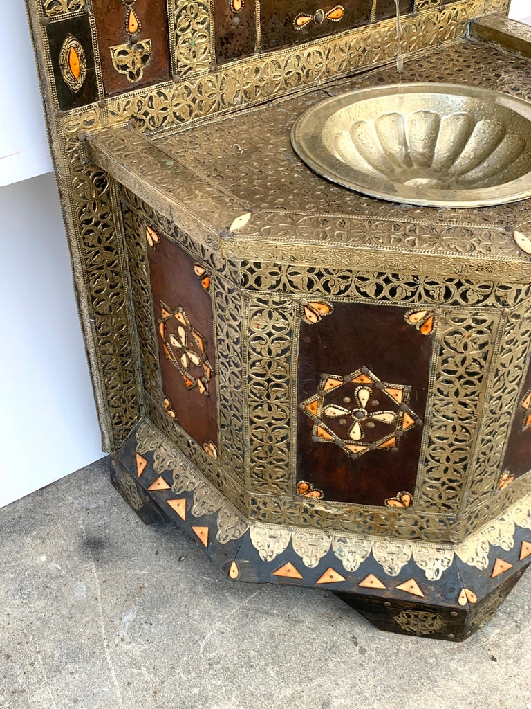 Exotic Vintage Moroccan Brass, Bone, and Silvered Fountain For Sale 10
