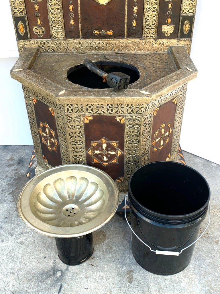 Exotic Vintage Moroccan Brass, Bone, and Silvered Fountain For Sale 11