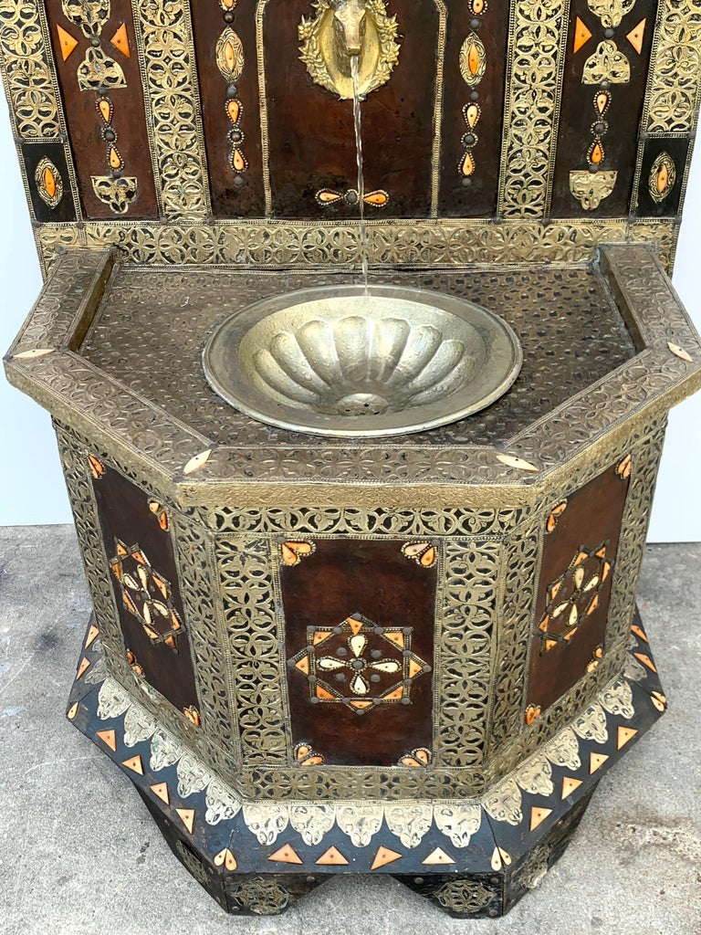 Exotic Vintage Moroccan Brass, Bone, and Silvered Fountain For Sale 1