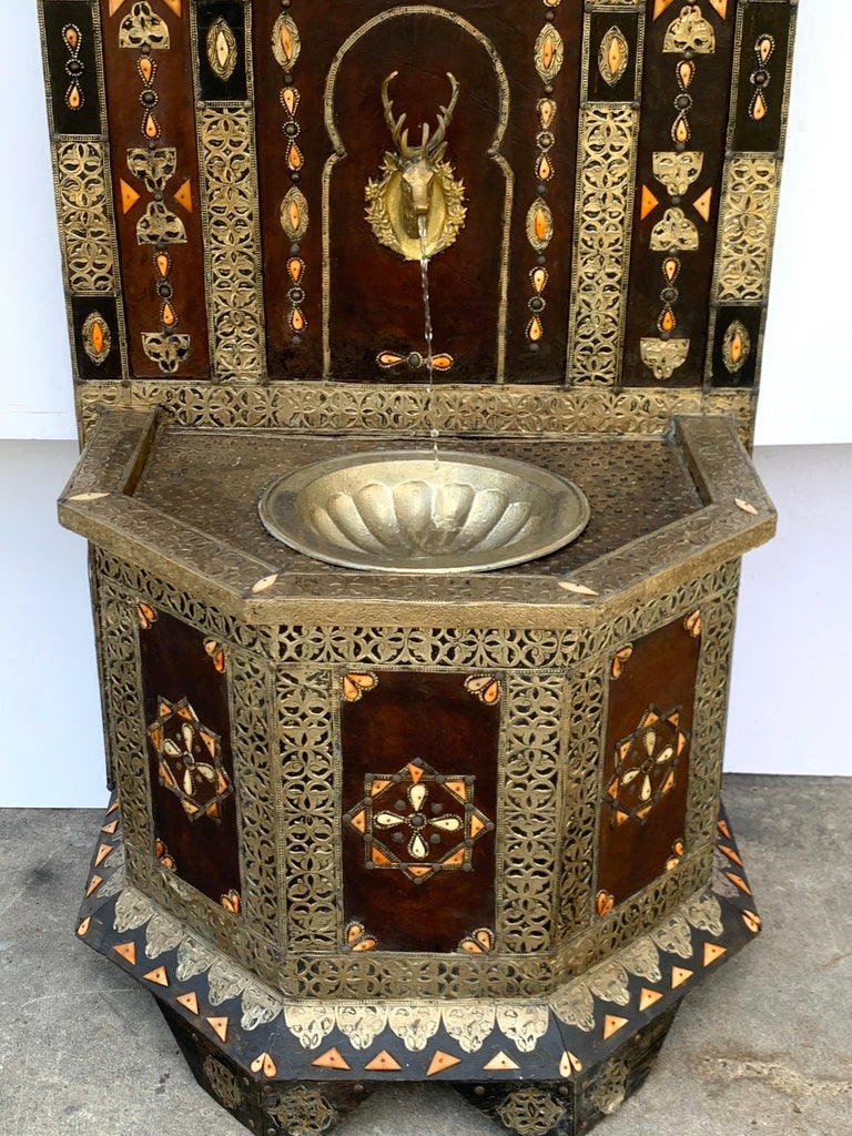 Exotic Vintage Moroccan Brass, Bone, and Silvered Fountain For Sale 2