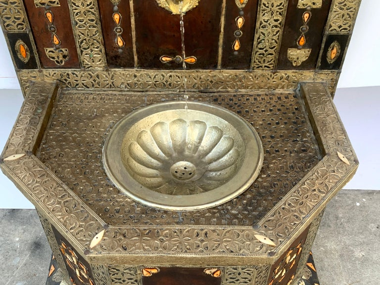 Exotic Vintage Moroccan Brass, Bone, and Silvered Fountain For Sale 3