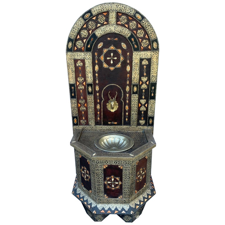 Exotic Vintage Moroccan Brass, Bone, and Silvered Fountain For Sale