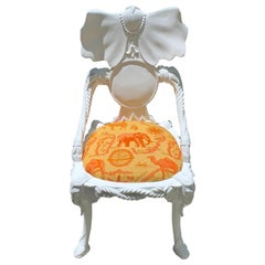 Exotic White Lacquer Elephant Motif Chair
