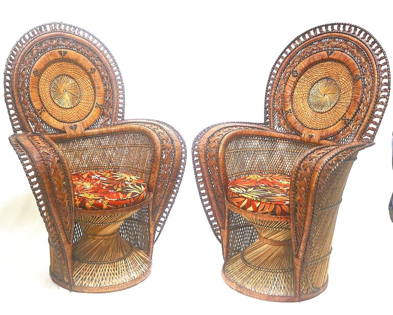 Hollywood Regency Rare Wicker Throne Peacock Chairs Medallion Back, Hollywood Glam For Sale