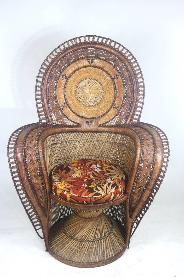 Rare Wicker Throne Peacock Chairs Medallion Back
