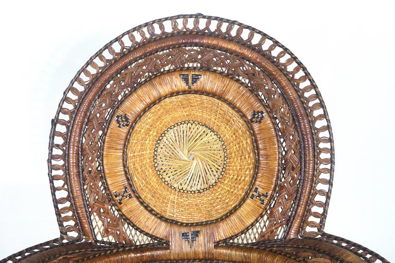 Rare Wicker Throne Peacock Chairs Medallion Back, Hollywood Glam For Sale 1