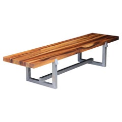 Exotic Wood and Steel Custom Bench from Costantini, Donato 'In Stock'