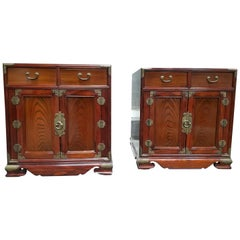 Exotic Wood Asian Style End Tables / Small Cabinets, a Pair