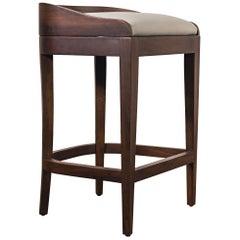 Exotic Wood Contemporary Sleek Stool in Leather from Costantini, Pia