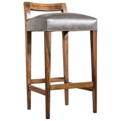 Exotic Wood Contemporary Stool in Leather from Costantini, Umberto