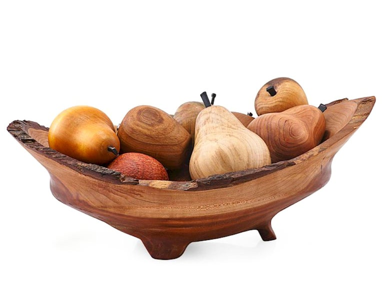 Gorgeous hand-turned exotic wood custom fruit bowl sculpture / centerpiece by Nathan Favors of Asheville. Studio art / Craft tradition of the Southern US, gorgeous, meticulously shaped and oiled sculptures, set of 15 pieces in total (including