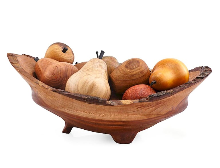 Arts and Crafts Exotic Wood Hand Carved & Turned Bowl of Fruit Sculpture Centerpiece Nate Favors For Sale