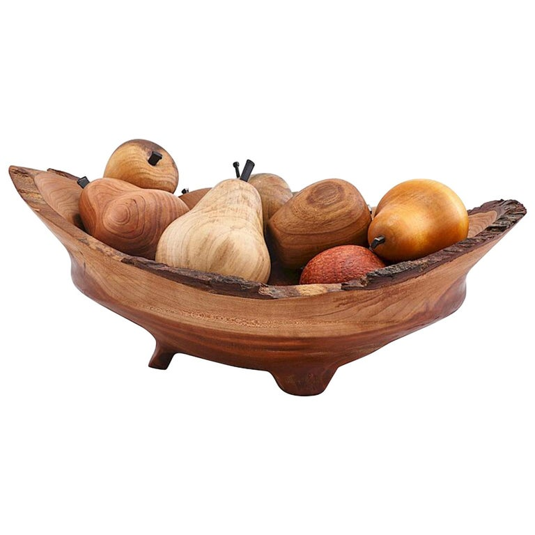 Exotic Wood Hand Carved & Turned Bowl of Fruit Sculpture Centerpiece Nate Favors For Sale
