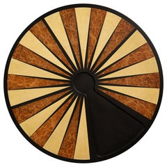 Exotic Wood Inlaid Round Backgammon Table by Costantini