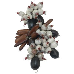 Exotic Wood & Seed Bead Organic Dress Clip Brooch, C.1940