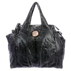 Exotic XL Gucci Black Python Skin Tote Shoulder Bag with Gucci Crest Logo